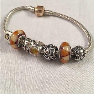 PANDORA Sterling Silver & Gold Charm Bracelet